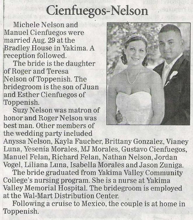 Manuel Cienfuegos '01 & Michele Nelson '04 - wedding announcement - Dec 2009