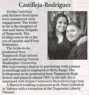 Ericka Castilleja ('06) & Matthew Rodriguez ('05) engagement announcement - Feb 2010