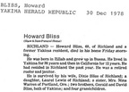 Howard Bliss Obituary - 1978