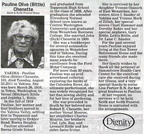 Pauline Bittle Chenette obituary - August 2011 - Class of 1928