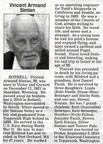 Vincent Simian obituary - Sept 2010 - Class of 1939