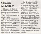 Clarence Kramer death notice - died May 23, 2008 - Class of 1946
