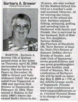 Barbara Ortolf Brewer obituary - May 2009 - Class of 1949