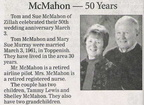 Tom McMahon ('54) & Sue Murray McMahon ('55) -50th Anniversary - March 2011