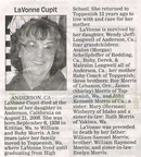 LaVonne (Morris) Cupit obituary - Sept 2008 - Class of 1954