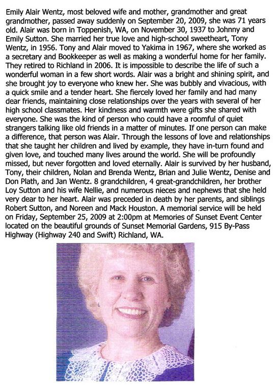 Alair Sutton Wentz obituary - Sept 2009 - Class of 1956
