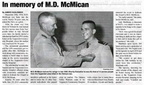 In Memory of M.D. McMican article - Jan 2011 - Class of 1958