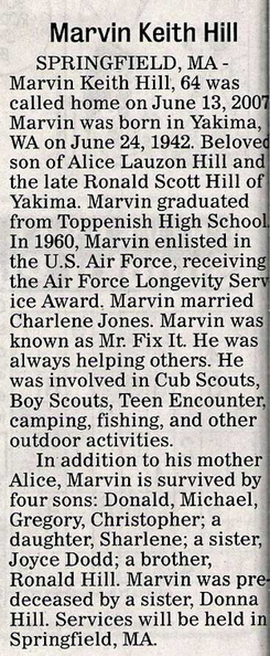 Marvin Hill obit - Class of 1960