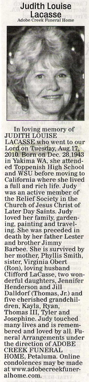 Judith Barbee Lacasse obituary - Aug 2010 - Class of 1962