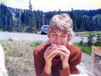 Judy Anderson enjoying a sandwich at Mt. Rainier.