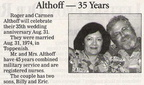 Roger & Carmen Cordero Althoff - 35th Wedding Anniversary announcement - Both Class of 1971