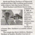 Mark ('76) & Eloise Juarez Hackner - 30th Wedding Anniversary Announcement - November 2010