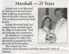 Randy Marshall ('79) - 25th Wedding Anniversary announcement - April 2009