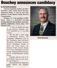 Kevin Bouchey - Class of 1979 - Running for Yakima County Commissioner - March 2008