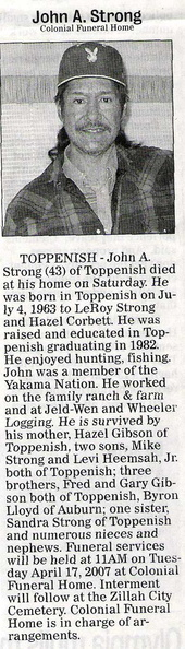 John Strong obit - April 2007 - Class of 1982