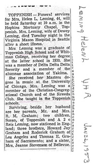 Helen (Graham) Leming obit - 1953