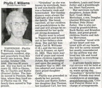 Phyllis (Zutter) Williams obituary - Oct 2008 - possibly Class of 1932?