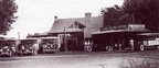 School buses getting gas at the corner of Asotin Avenue and Buena Way, 1927.