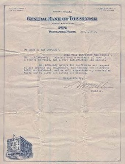 Central Valley Bank letter of reference for a 'Mr. McCready' - dated 1919