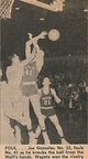1965.0123 Joe Gonzalez fouls in Basketball Game at A J Strom Gym with 2,800 looking on