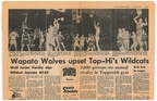 1965.0123 Sports Page for Wapato Toppenish Basketball Game in Toppenish with 2,800 people in attendance Top Section