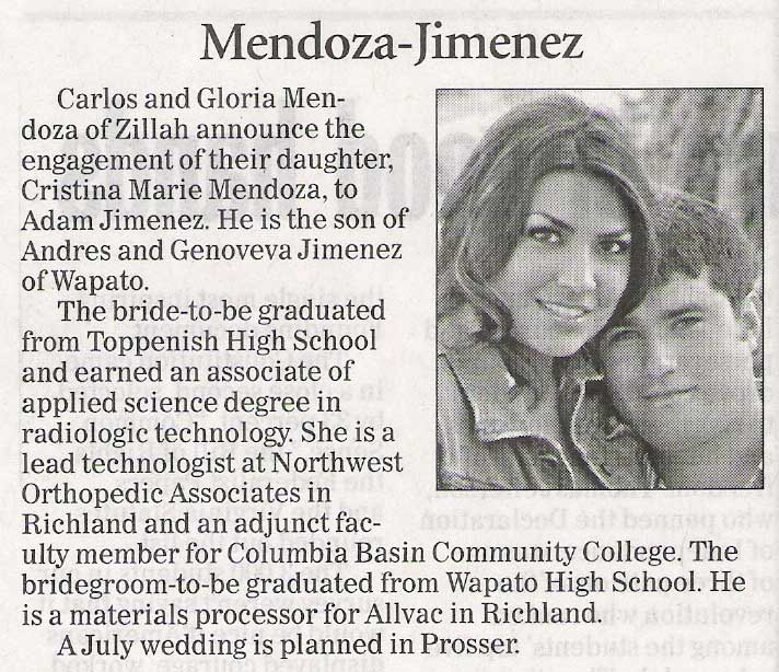 Cristina Mendoza engagement announcement - July 2010 - Class of 2001