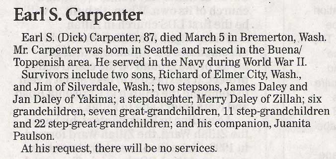 Earl (Dick) Carpenter death notice - April 2009 - Class of 1940