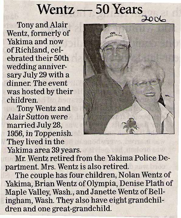 Tony & Alair (Sutton) Wentz - both Class of 1956