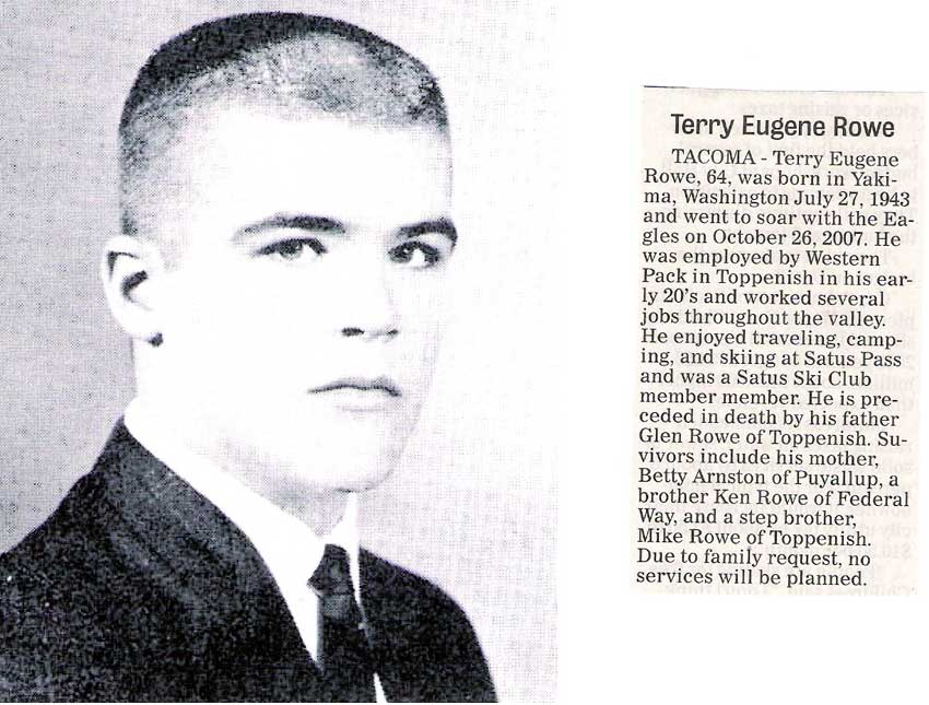 Terry Rowe obit - Oct 2007 - Class of 1962