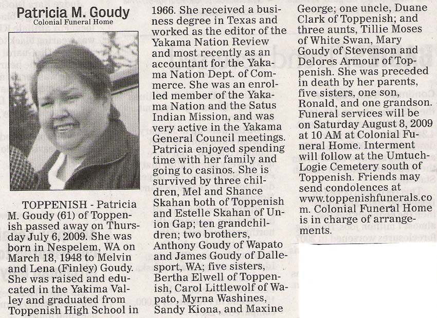 Patricia Goudy obituary - Aug 2009 - Class of 1966