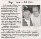 Cecil Hagerman ('44) 60th Wedding Anniversary announcement - January 2010