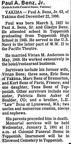 Paul Benz Jr. obit - 1990. Class of 1945