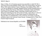 Mary (Chissus) Wiley obit - 2003