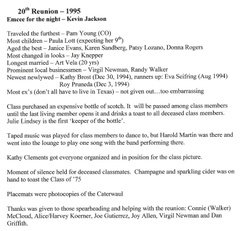 20th Reunion - Awards & Events