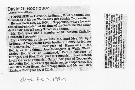 David Rodriguez Obituary - 1980