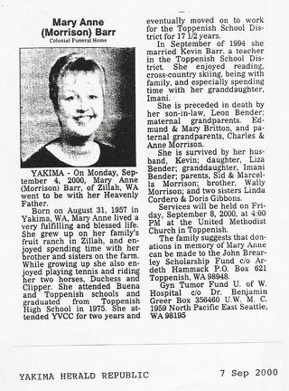 Mary Anne (Morrison)Barr Obit - 2000