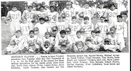 8th gr football Defense - 1970
