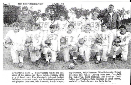 8th gr football Offense - 1970