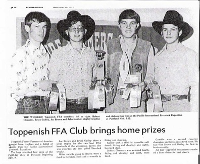 FFA AWARDSClements-76, Gadley,Brown,Gamble all '75