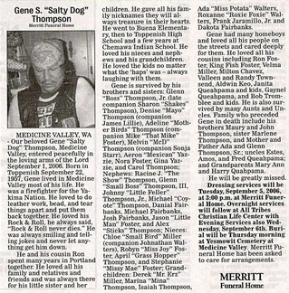 Gene Thompson obit - Sept 2006