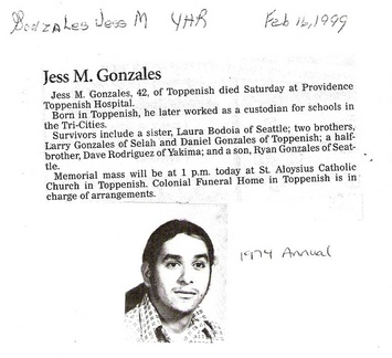 Jess Gonzales obituary - 1999