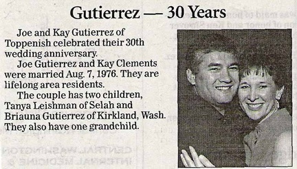 Joe & Kay (Clements) Gutierrez - 30th Anniversary - 2006 - (Joe '75-Kay'74)