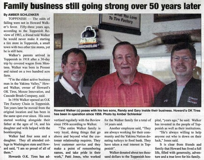 Howard's OK Tires article - May 2009. Gary Walker ('70) and Randy Walker ('75)