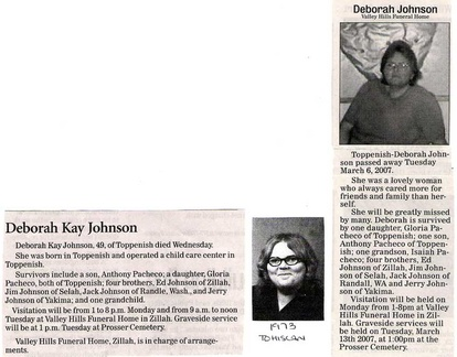 Debbie Johnson obit - March 2007