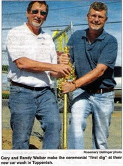Gary Walker ('70) and Randy Walker ('75) - Ceremonial 'first dig' for new car wash - Aug 2009