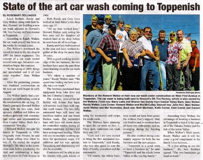 'Walker's Wash' - State of Art Car Wash to open in Toppenish to open Nov 1, 2009. Randy Walker ('75) Gary Walker ('70)
