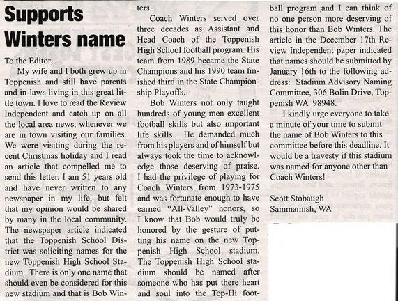 Letter to Editor by Scott Stobaugh ('75) re: naming of new football stadium - Coach Bob Winters