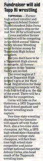 Top-Hi Wrestling Fundraiser to be held Nov 20, 2010 - 7 p.m.- many former wrestlers to be participating
